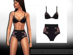 The Sims Resource: Two Piece Trendy Sleep and Swimsuit by Saliwa • Sims 4 Downloads