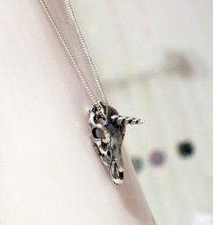 Unicorn Skull Sterling Silver Necklace Unicorpse by kaczdesigns, $95.00