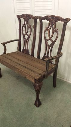 love seat-bench remake from two chairs (+ some lumber) would be so pretty painted & upholstered #ChairBench #GardenBench