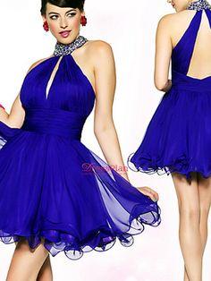 Chiffon de luxo Royal Blue A-Line Beaded Neck alta sem mangas Vestido Curto Prom