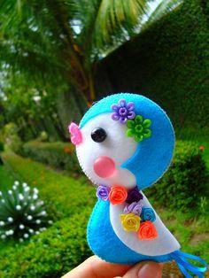 blue bird -felt, buttons and beads; crafts