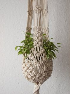 Latest Pic Macrame Plant hanger-indoor Hanging Planter made from natural white cotton or black polypropilene rope- cm) / cm) long Suggestions If you have small place for the keeping of flowerpots, holding flowerpots certainly are a good Alter Crochet Plant Hanger, Rope Plant Hanger, Macrame Plant Hanger Patterns, Macrame Plant Holder, Macrame Plant Hangers, Plant Holders, Macrame Patterns, Hanging Flower Pots, Hanging Planters