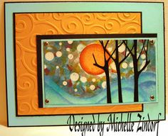 another gorgeous Zindorff creation..luv the orange panel with embossed swirls that match the big orange sponed sun!!! Fantastic photo tutorial for those who want to try to emulate this card!!