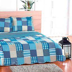 Colcha Estampada Retalhos Geométricos Azul + Porta Travesseiros