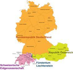 Karte deutschsprachiger Länder  » Click to zoom ->