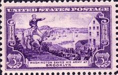 US Postage Stamp, Washington at Brooklyn, 1951 Issue, 3 cents