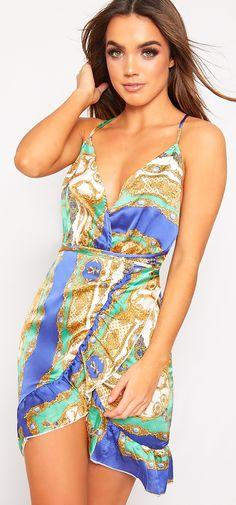 ∻ | Camilla Baroque Scarf Halterneck Wrap Mini Dress  | ∻ Silk | Strappy | Belted | Sexy | Spring | Party | Elegant