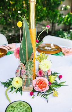 Pink & Yellow Tropical Bridal Shower Brunch - Inspired By This Hawaiian Baby Showers, Tropical Bridal Showers, Tropical Party, Reception Table Decorations, Wedding Shower Decorations, Flower Decorations, Luau Bridal Shower, Girl Shower, Pink Yellow
