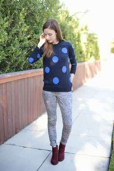 floral jeans + polka dot sweater