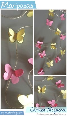 Manualidades papel mariposas Carmen Noguerol Paper Butterflies, Paper Flowers Diy, Diy Paper, Paper Crafts, Butterfly Birthday Party, Butterfly Baby Shower, Diy And Crafts, Crafts For Kids, Butterfly Crafts