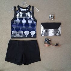 effiesinc #Lookoftheday!!! @parkernewyork Reya black, blue, and white combo knit top, @ecrustyle Harry short in black, wide silver cuff with black embellishments, @bcbgmaxazria reptile print envelope clutch, and @chineselaundry Tahiti sandal in black. #blackandblue #cropitoff #shortstory #ootd 1mon Read more at http://websta.me/n/effiesinc#XSy8cM8rGuEV1jUx.99