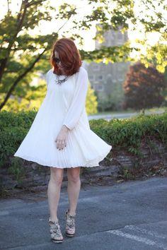 Erin Fetherston Dress.  gifted Rachel Zoe Wedges.  J.Crew Necklace.  Norma Kamali Sunglasses.