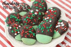 These delicious cookies are an easy and festive way to celebrate National Cookie Day! The mint-chocolate combination is a favorite of ours and really, who can resist any treat that's got holiday sprinkles?! Not me! The recipe makes about 4 dozen too, so they're perfect for cookie exchange parties this time of year. Scroll down …