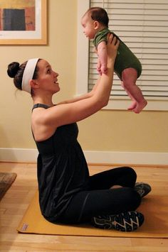 5 exercises to do with baby! I might do some of these. Although working out with a 20lb weight........