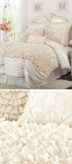 Lovely Ivory Layered Ruffle Comforter Set <3 L.O.V.E.
