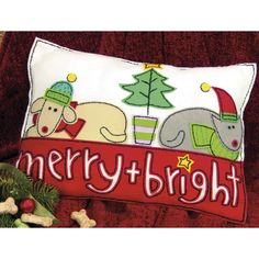 The Merry & Bright Felt Pillow Kit is an easy Christmas felt kit from Dimensions.  Kit includes presorted cotton thread, die-cut felt, stuffing, needle, and easy instructions.  Finished pillow is approx. 16 in x 12 in.  Felt pieces are pre-cut and pre-punched with holes for easy embroidery & hand sewing.  An easy felt applique kit for beginners to make a creative felt pillow for the holidays.