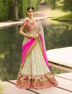 Beige and Pink Heavy Embroidery Bridal Lehenga Choli ,Veeshack.com | Fashion for the World #BridalLehengaCholi #Pink #OffWhite #Embroidery