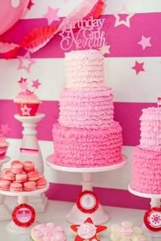 Ombre ruffle cake at an American Girl birthday party! See more party ideas at CatchMyParty.com!