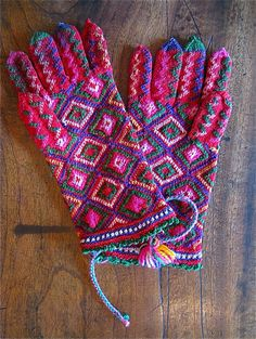 exquisite vintage hand knitted gloves from Bulgaria,