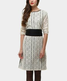Take a look at this Cream & Black Paola Dress by Almatrichi on #zulily today!
