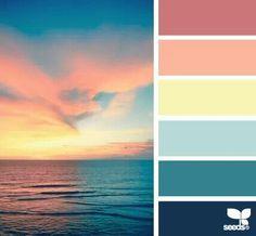 horizon hues Color Palette by Design Seeds Colour Pallette, Color Palate, Colour Schemes, Color Combos, Color Patterns, Palettes Color, Beach Color Schemes, Sunset Color Palette, Color Concept