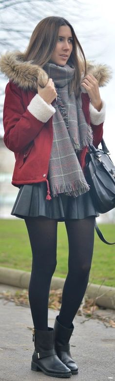 #Burgundy #Parka by Silvia's closetSeems to be the look girls, short skirts, most fuller, tights and boots and scarves, mostly plaid, often worn with beanie or fedora! Get crackin' LOL  sadee says