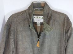 Orvis Jacket Harris Tweed Weatherbreaker 100% Wool Bomber style Plaid Men's L #Orvis #BasicJacket #Weatherbreaker #Tweed #100%wool #wool #plaid