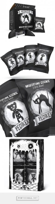 Pechkeks Misfortune cookies | #packaging #design | Black & White is all you need, great work!