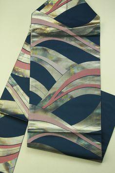 Navy, rokutsu nagoya obi / 紺地 鈍びた箔の抽象曲線柄 六通名古屋帯
