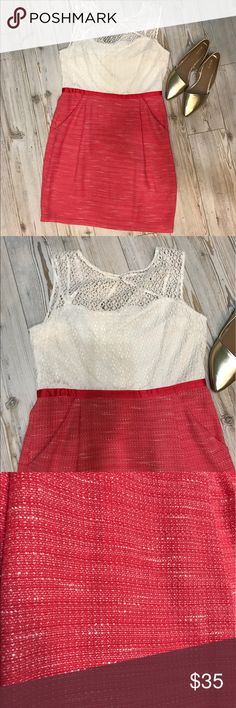 Studio One coral/off white Lacey dress. Super cute Studio One lacy tiff white top/ tweed coral bottom dress with POCKETS!!! studio one new york Dresses Midi