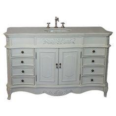 "Chans Oriental Morton 56"" Antique Single Sink Bathroom Vanity in White NL-CF2815W-AW-56 at DiscountBathroomVanities.com"