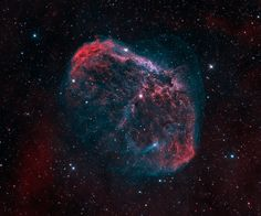 NGC 6888: The Crescent Nebula : NGC 6888, also known as the Crescent Nebula, is a cosmic bubble about 25 light-years across, blown by winds from its central, bright, massive star.