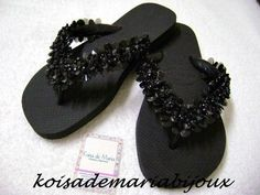 Decorating Flip Flops, Shoe Boots, Shoe Bag, Embroidery Fashion, Black Jewelry, Beach Shoes, Glass Slipper, Huaraches, Hair Clips