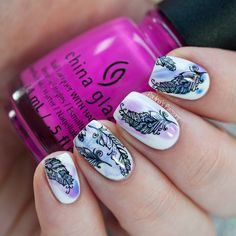 Delicate Watercolor Feathers Nail Art