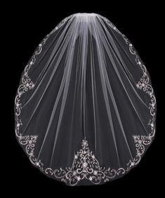 Fingertip Length Wedding Veil with Beaded Silver Embroidery, style V704SF .