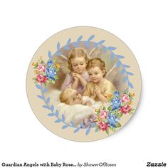 Guardian Angels with Baby Roses Wreath Classic Round Sticker