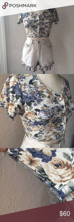 """Vintage Floral Set Super cute details and pearl buttons on the top!  The stitching is coming out on the shirt and shorts but not where it would effect the seams! Refer to the pictures! And ask questions if you would like!  Size on tags Top: medium which I would say is pretty true to size and it's a stretchy material Shorts: 9  Measurements on the shorts Waist: 28"""" Rise: 13""""  On a size 4/6 mannequin Shorts"""