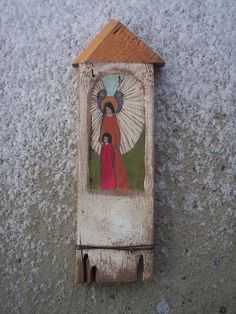 Guardian Angel - Rustic Wooden Hand Painted and Carved Shrine Original Wood Sculpture Art. 74.00, via Etsy.