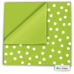 """A """"Lime Dots"""" Funkin. Funkins are bright, reusable cloth napkins made especially for kids. They are ideal for lunch boxes, and are perfect for meal and snack time at home, and on the go! Eco Kids, Planes Party, Insulated Lunch Bags, Wedding With Kids, Cloth Napkins, Fall Crafts, Lime, Dots, Lunch Boxes"""