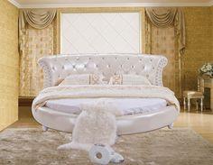 O design moderno da cama de couro macio / ouro / grande dupla mobília do quarto, Estilo moderno rodada bed room(China (Mainland))