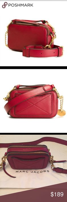 Marc Jacobs Recruit Camera Bag Beautiful pebbled leather Ruby Red camera style bag. 7 1/4 x 4 1/4 x 2 1/4. Strap drop 19 1/2 - 23 1/2. Dual zip top closure compartments. Strap is adjustable and removable. Exterior slit pocket as well as an interior wall pocket. Like new! Comes with dust bag. Retails for $275. Marc Jacobs Bags Crossbody Bags