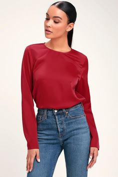3f4d4ea41abda6 The Lulus Jazlyn Red Satin Long Sleeve Top is so sweet and sure