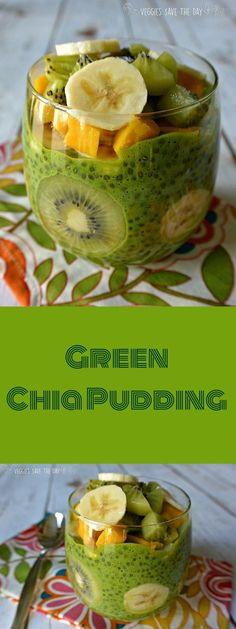 Green Chia Pudding is perfect for a nutritious breakfast, a satisfying snack, or a sugar-free dessert. It's easy to make with only a few ingredients. Click here to get the recipe http://www.veggiessavetheday.com/green-chia-pudding/ or pin to save it for l