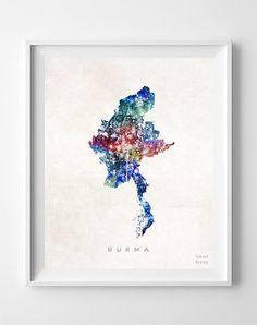 Burma Map Myanmar Print Asia Watercolor Naypyidaw by InkistPrints