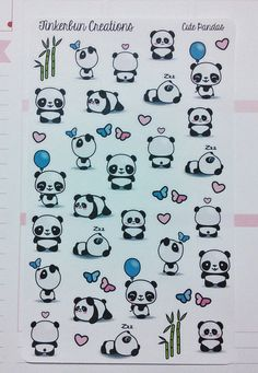Items similar to Cute Panda Stickers on Etsy - Panda Cute Food Drawings, Cute Kawaii Drawings, Kawaii Doodles, Cute Doodles Drawings, Niedlicher Panda, Panda Art, Cute Panda, Panda Love, Griffonnages Kawaii