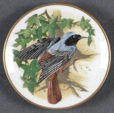 Mini Porcelain Plate Redstart Franklin Songbirds of the World Colin Newman 1981 Catherine Klein, Crystal Glassware, Franklin Mint, China Painting, Vintage Birds, Bird Design, Bird Art, Beautiful Birds, Blue Bird