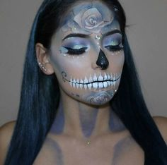 Pretty Glittery Sugar Skull Halloween Makeup Idea