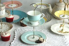 2 tier jewelry / candy / truffle stand: English bone china upcycled to make a pretty mini cake stand. $38.00, via Etsy.
