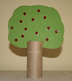 Apple Tree Craft. We've made these before, but we colored the 'leaves' on. These are really cute when you make a bunch. You can even use empty paper towel rolls to have taller trees.