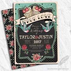 Rockabilly Wedding Invitations, digital file, prints, tattoo, rockabilly, pinup, sparrows, roses, po
